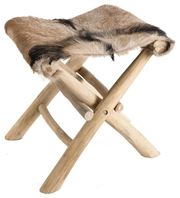 Clara Foldable Stool, Goat Skin