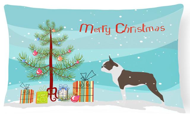 boston terrier merry christmas tree canvas fabric decorative pillow - Boston Terrier Outdoor Christmas Decoration