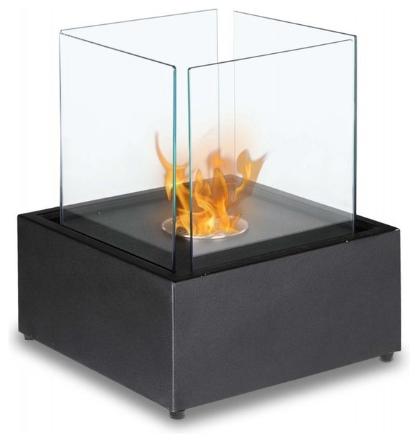 Cube Tabletop Bio Ethanol Fireplace Black Contemporary Tabletop Fireplaces By Soothing