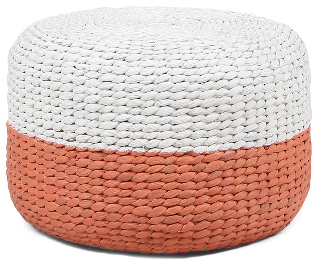 Admirable Gdf Studio Tammy Water Hyacinth Wicker Stool Pink White Pabps2019 Chair Design Images Pabps2019Com