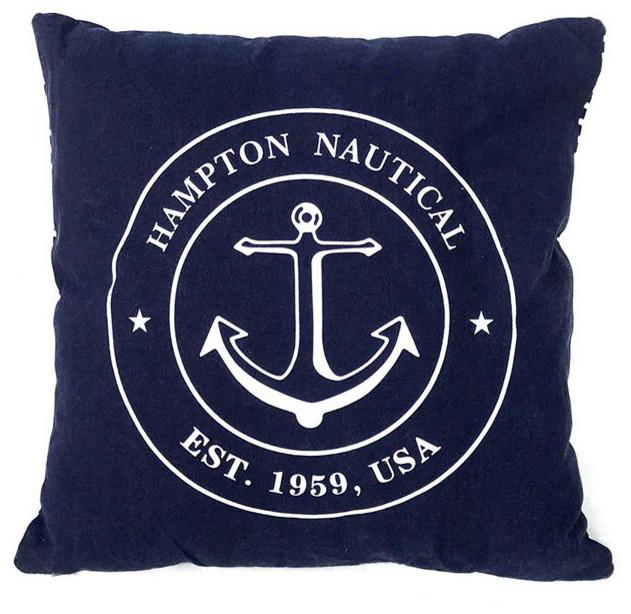 Blue Hampton Nautical With Anchor Throw Pillow 16.