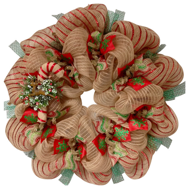 Burlap Candy Cane Deco Mesh Handmade Christmas Wreath - Contemporary - Wreaths And Garlands - by What A Mesh By Diana