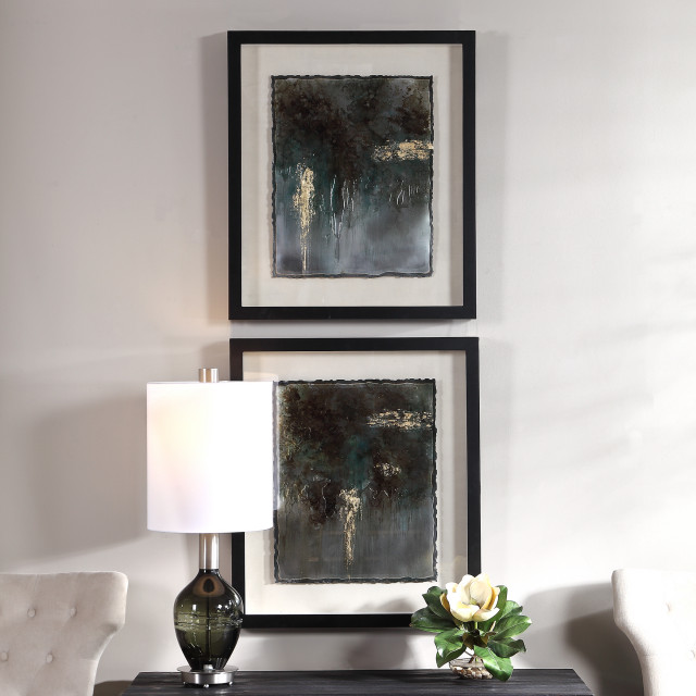 Uttermost Rustic Patina Framed Prints 2 Piece Set Contemporary Prints And Posters By Hedgeapple Houzz