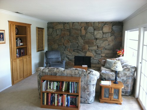 "Huge Fireplace Rock Wall, And No Real ""Walls."" What To Do?"