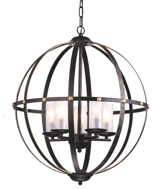 5-Light Antique Bronze Globe Cage Chandelier With Glass Sconces