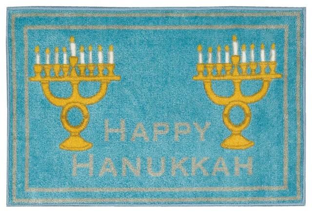 Accent Decor Hanukkah Accent Rug, Light Blue, 1&x27;6x2&x27;6.