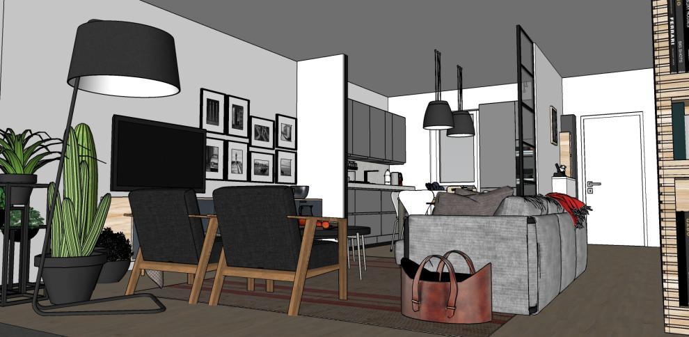 Render_Vista generale del soggiorno verso la cucina e l'ingresso.