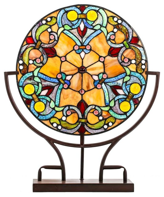 "21.75"" Webbed Hearts Tiffany Style Stained Glass Panel Lamp."