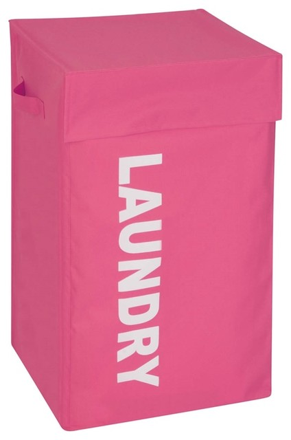 Honey Can Do Graphic Hamper With Lid, Pink.