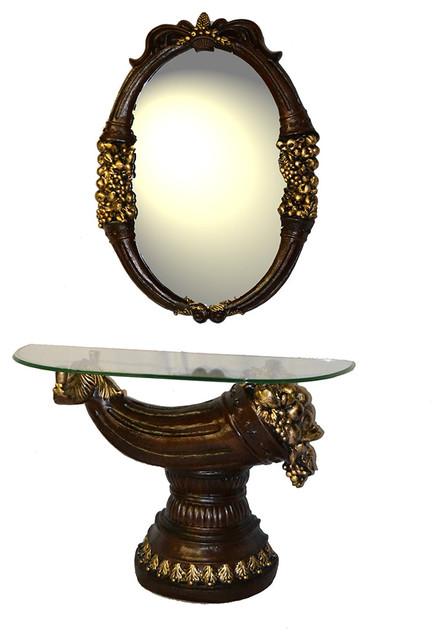 Decorative Bedroom Bathroom Polyresin Antique Vanity Table and Mirror Set