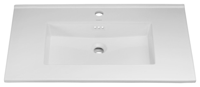 """Ronbow Essentials Larisa 32"""" Ceramic Sink Top With Single Faucet Hole, White."""