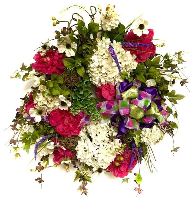 """24"""" x 28"""" x 7"""" Silk Floral Pink Peony Hydrangea Garden Variety Wreath"""