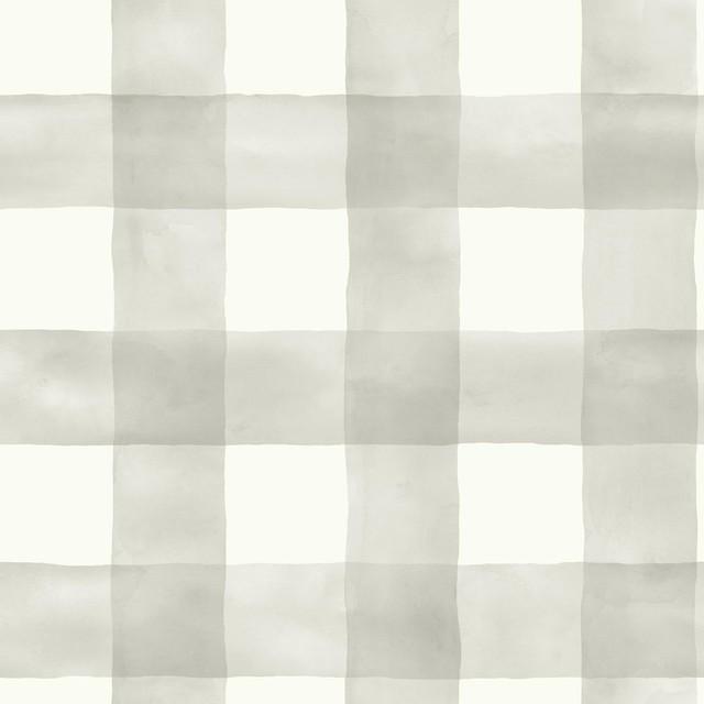 Magnolia Home Watercolor Buffalo Check Gray And White Wallpaper, Single Roll.