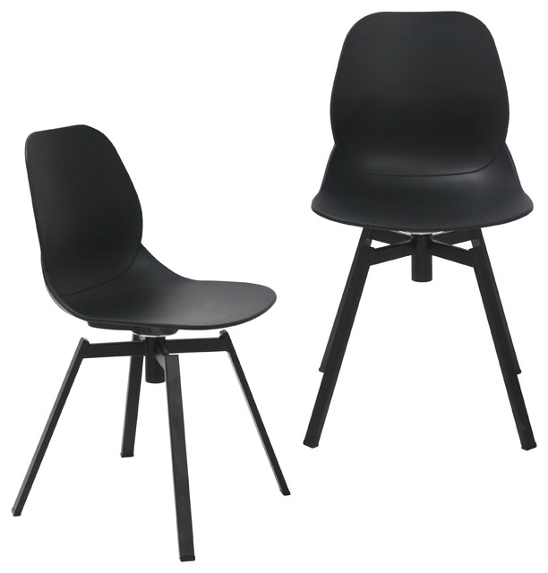 Joy Series Shell Side Swivel Chairs With Metal Leg, Set Of 2, Black