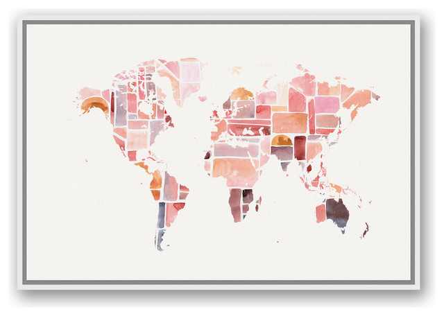 Pink World Map 24x36 White Floating Framed Canvas.