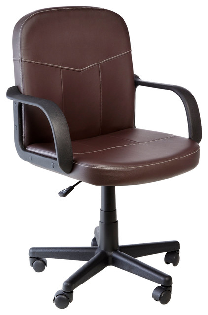 Onespace Bonded Leather Mid-Back Office Chair, Brown.