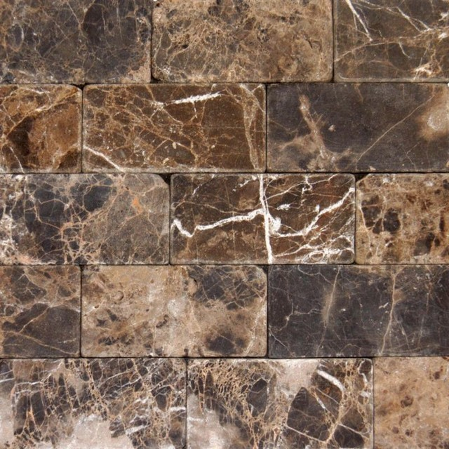 3 X6 Emperador Dark Tumbled Marble Floor And Wall Tile Small Tiles