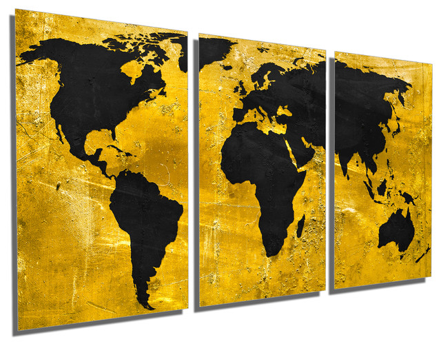 Canvas Quest - Black And Gold World Map Metal Print Wall Art, 3 ...