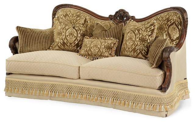 Chateau Beauvais Wood Trim Fabric Sofa Victorian Sofas By