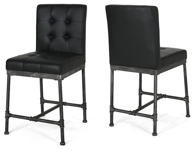Marvelous Sara 24 Counter Stool With Faux Leather Backing And Metal Pipe Base Set Of 2 Forskolin Free Trial Chair Design Images Forskolin Free Trialorg