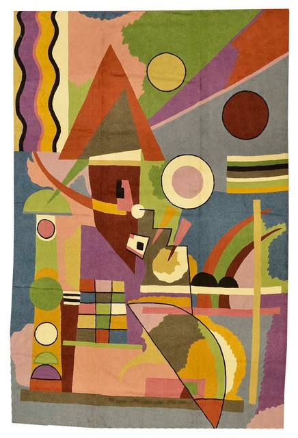 Kandinsky Colorful World Wool Rug / Wall Tapestry Hand Embroidered 6ft X 4ft.