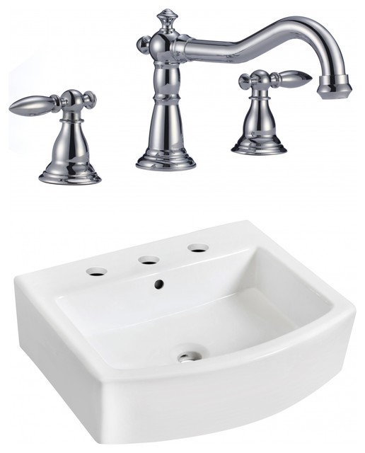 Wall Mount Vessel Set, Faucet Included, White, 22.25.