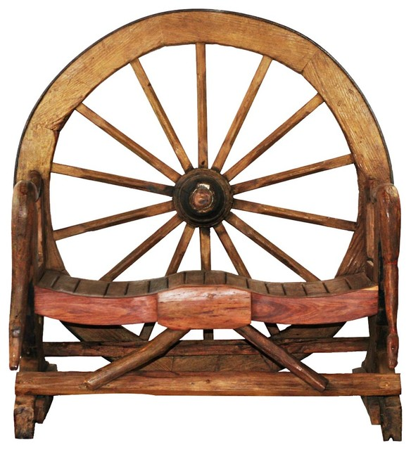 Attractive Wagon Wheel Teak Wood Novelty Garden Bench