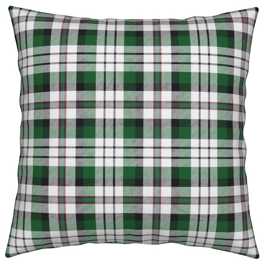 Tartan Blue Green Plaid Throw Pillow Cover w Optional Insert by Roostery