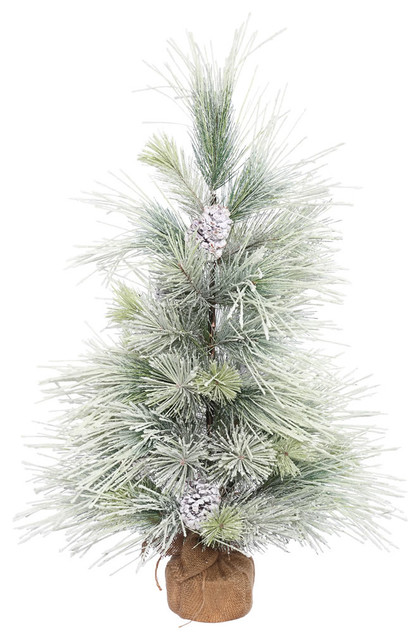 "3'x26"" Frosted Norway Pine Tree With Cones and Burlap Base"