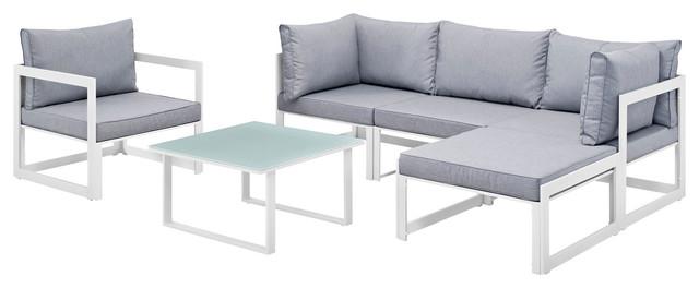 Fortuna 6-Piece Outdoor Aluminum Sectional Sofa Set, White Gray