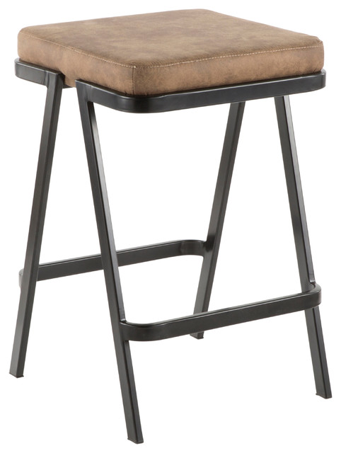 Lumisource Seven Counter Stool, Black Metal and Brown Cowboy