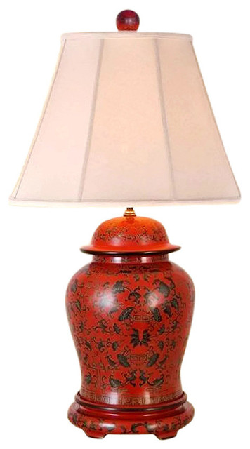 Red Oriental Table Lamp  Vintage Japanese Asian Design Porcelain Light Decor