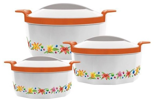 3-Piece Thermal Hot Food Containers Set 1, 1.5 and 2.5 l., Orange