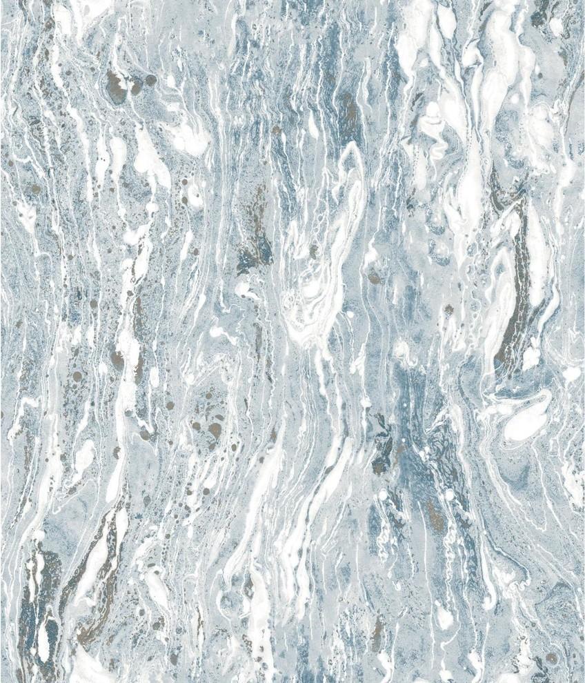 Blue Marble Seas Peel Stick Wallpaper Blue Contemporary