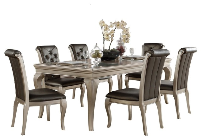 7 Piece Chable Glam Dining Set Opaque Glass Table 6 Chair Silver