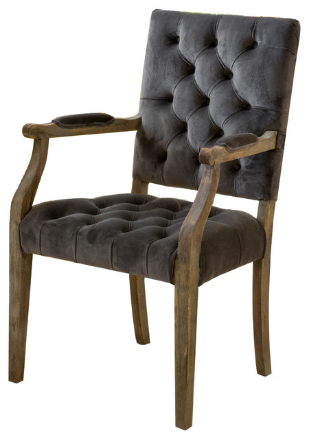 Myrtle Velvet Charcoal Arm Dining Chair.