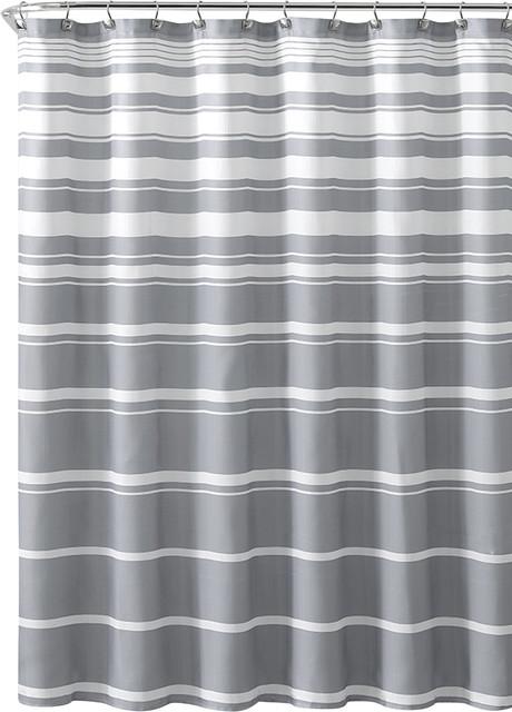 aaa0cfdb77b Gray White Faux Linen Fabric Shower Curtain