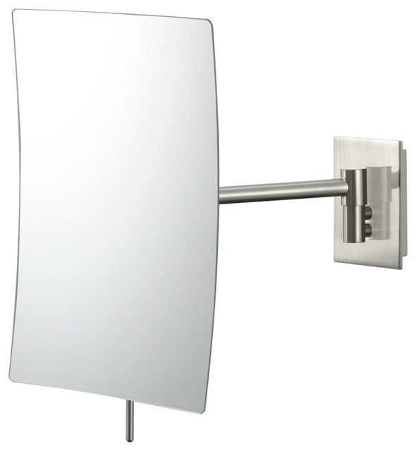 Minimalist Rectangular Wall Mirror With 3x Magnification, Brushed Nickel.