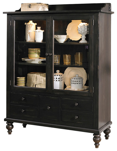 Bon Display Cabinet With Solids Rubberwood And Black Cherry