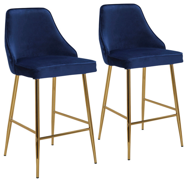Marcel Contemporary/Glam Counter Stool, Gold Metal and Blue Velvet, Set of 2