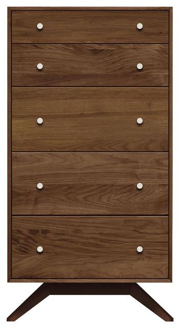 Copeland Furniture Astrid 5 Drawers Dresser, Walnut/dark Chocolate Maple.
