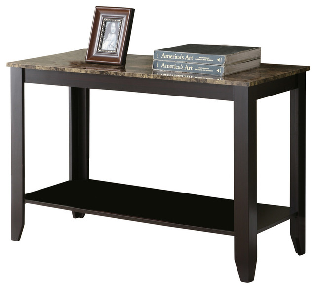 Console Table, Cappuccino Marble Top Transitional Console Tables