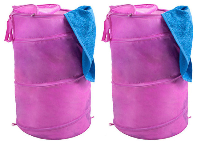 Set Of 2 Breathable Pop Up Laundry Clothes Hamper, Pink.