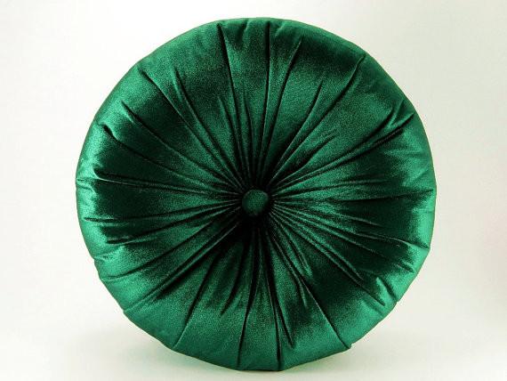 Emerald Silk Velvet Round Pillow By Original Boutique