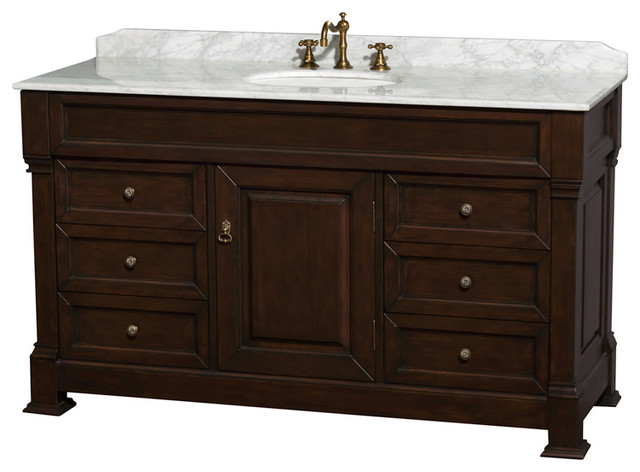 "Andover 60"" Dark Cherry Single Vanity, Carrara Marble Top, Oval Sink, No Mirror"