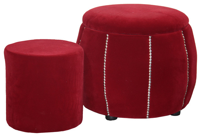17.5 Tall Storage Ottoman With 1 Seating, Red Pumpkin.