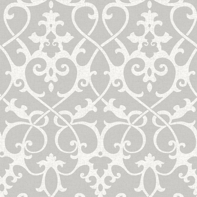 Ironwork Gray Peel And Stick Wallpaper, Gray, 4 Bolts. -1