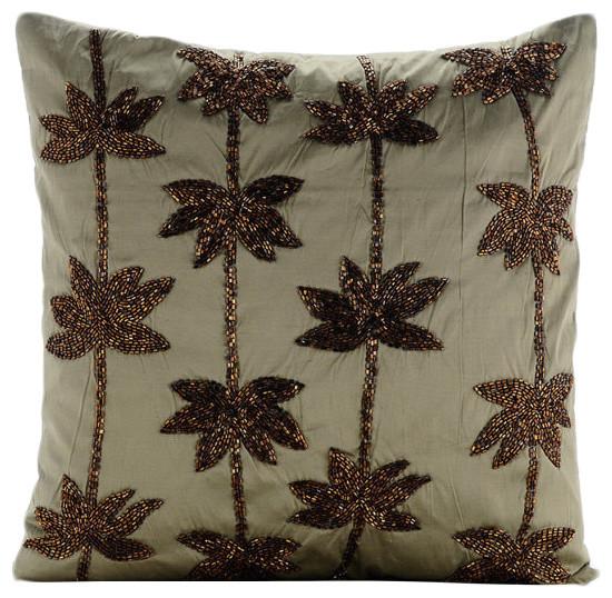 Green Zardozi Lotus Flower 18 X18 Taffeta Pillow Covers Brown Dreams