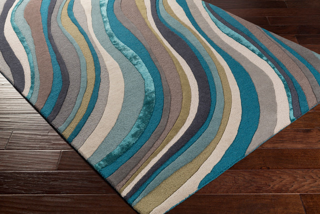 Lounge LGE-2293 Multi and Teal Contemporary Rug, 9'x13'