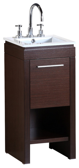 Bellaterra 16 Single Sink Bathroom Vanity Wenge Finish Ceramic Countertop